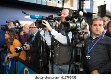 ST. JULIAN'S - MALTA, 30 March 2017: Press, photographers and videographers during congress of the European People's Party (EPP) in Malta. Working moments of the EPP Congress
