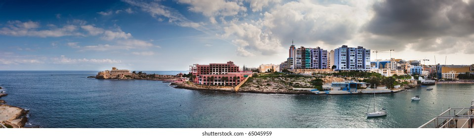 St Julians, Malta with the casino and new built hotels