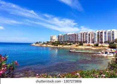 ST JULIANS, MALTA - MAY 5: Waterfront view of St Julians, Malta on May5, 2018.