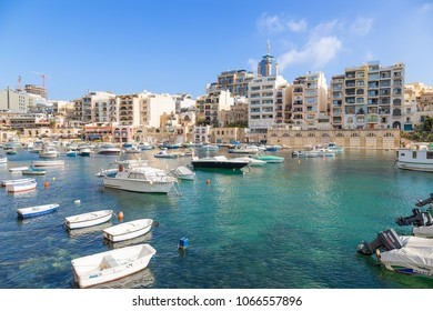 ST. JULIAN'S, MALTA - SEP 10, 2016: Parking of pleasure boats in the bay