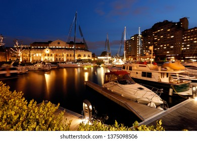 St Katharine Docks aft night nobody present. it was part of port of London, now became one of the most famous commercial docks attracting tourists.