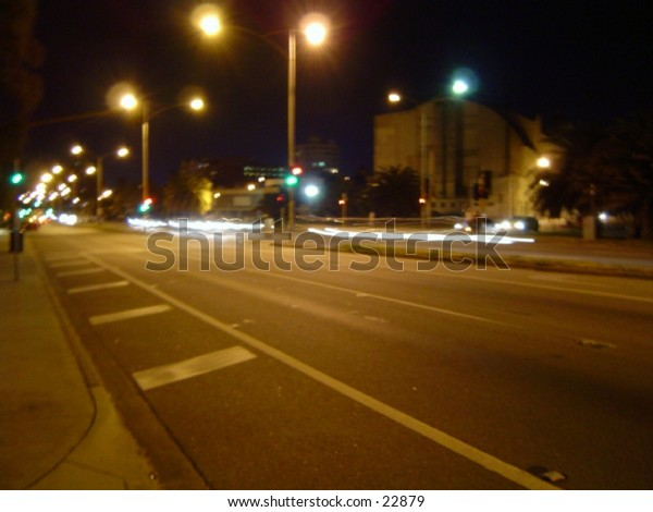 St. Kilda Beach road.... night rush. Australia Melbourne