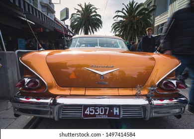 St Kilda, Victoria /  Australia - September 2nd, 2018 - Melbourne Car show Father's day. Chevrolet classic car. 1950's model from Los Angeles, California USA.