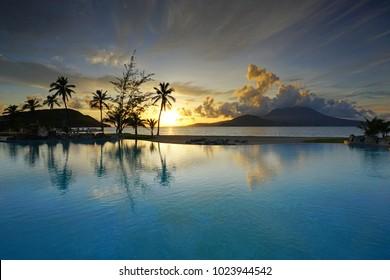 ST KITTS, ST KITTS AND NEVIS -19 NOV 2017- View of the Park Hyatt St Kitts, a luxury upscale hotel resort in Christopher Harbor, Saint Kitts. The hotel opened in November 2017.