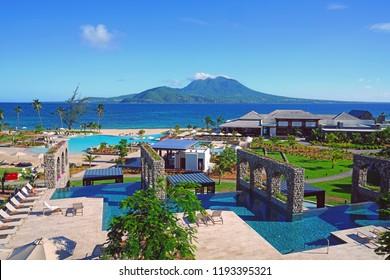 ST KITTS, ST KITTS AND NEVIS -19 NOV 2017- View of the Park Hyatt St Kitts, a luxury upscale hotel resort opened in November 2017 in Christopher Harbor, Saint Kitts, with the Nevis Peak volcano.