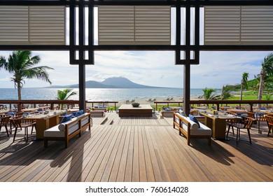 ST KITTS, ST KITTS AND NEVIS -19 NOV 2017- The Great House restaurant in the Park Hyatt St Kitts, a luxury upscale hotel resort in Christopher Harbor, Saint Kitts. The hotel opened in November 2017.