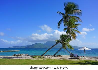 ST KITTS, ST KITTS AND NEVIS -21 NOV 2018- View of the Park Hyatt St Kitts, a luxury upscale hotel resort opened in November 2017 in Christopher Harbor, Saint Kitts, with the Nevis Peak volcano.