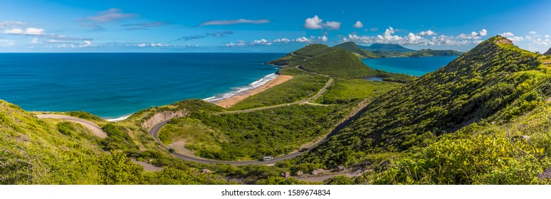 St Kitts stretches into the distance viewed from Timothy Hill