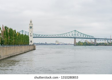 St Lawrence River and Jacques Cartier Bridge at Montreal, Canada