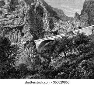 The St. Louis Bridge, Alpes Maritimes, vintage engraved illustration. Magasin Pittoresque 1867.