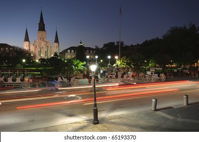 St. Louis Cathedral and car streaks
