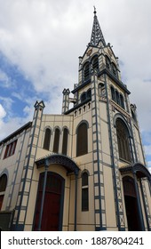 St. Louis Cathedral, Fort de France, in the French Caribbean island of Martinique. It was built in the late 19th-century in the Romanesque Revival style .