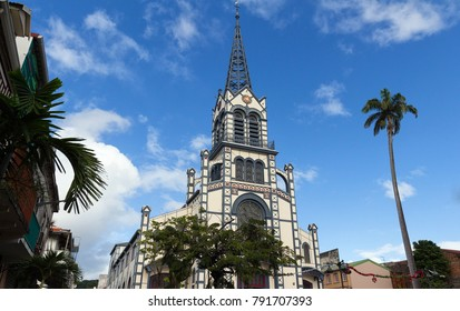 St. Louis Cathedral, Fort de France city , Martinique island . It was built in the late 19th-century in the Romanesque Revival style .