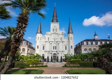 St. Louis Cathedral and Jackson Square in the French Quarter of New Orleans, Louisiana.