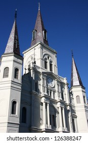 St. Louis Cathedral in Jackson Square in the city of New Orleans, Louisiana with deep blue winter sky