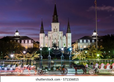 St. Louis Cathedral in Jackson Square in New Orleans, Louisiana at Night