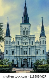 St. Louis Cathedral in New Orleans, LA French Quarter is a tourist attraction.