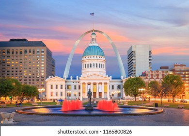 St. Louis downtown city skyline at twilight in USA