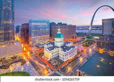 St. Louis downtown skyline at twilight from top view