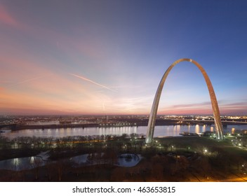St Louis Gateway Arch twilight transition to sunrise aerial view