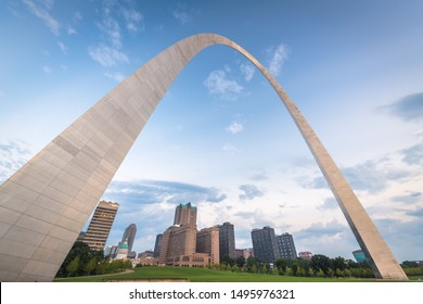 ST. LOUIS, MISSOURI - AUGUST 25, 2018: Downtown St. Louis viewed from below the Gateway Arch.