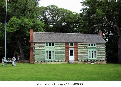 St. Louis, Missouri - May 19 2015: The original log cabin at Grant's Farm, on land once owned by Ulysses S. Grant.