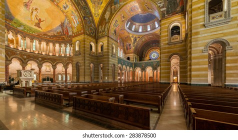 ST. LOUIS, MISSOURI - MAY 27: Corridor in the Cathedral Basilica of Saint Louis on Lindell Boulevard on May 27, 2015 in St. Louis, Missouri