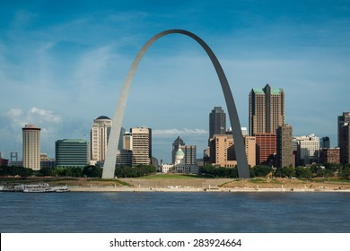 ST. LOUIS, MISSOURI - MAY 29: Downtown St. Louis from the Malcolm W. Martin Memorial Park on May 29, 2015 in East St. Louis, Illinois