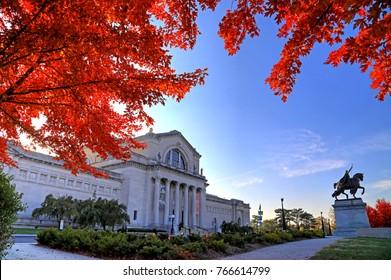 St. Louis, Missouri - Nov. 3, 2017 - Fall foliage around the St. Louis Art Museum on Art Hill in Forest Park, St. Louis, Missouri.
