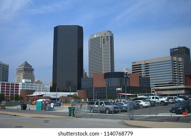ST. LOUIS, MISSOURI - SEPTEMBER 18: Downtown street scene and architecture near Busch Stadium on September 18, 2010 in St. Louis, Missouri. St. Louis is a major US city adjacent to the Mississippi Riv