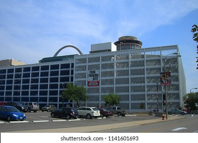ST. LOUIS, MISSOURI - SEPTEMBER 18: Downtown street scene and architecture near Busch Stadium on September 18, 2010 in St. Louis, Missouri. St. Louis is a major city adjacent to the Mississippi River.