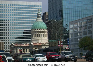 ST. LOUIS, MISSOURI - SEPTEMBER 18: Downtown street scene near the Old Courthouse on September 18, 2010 in St. Louis, Missouri. St. Louis is a major city adjacent to the Mississippi River.