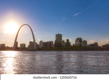 The St. Louis, Missouri skyline across the Mississippi River.