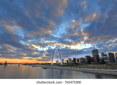 St. Louis, Missouri Skyline and the Gateway Arch from Eads Bridge.