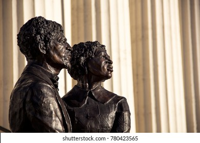 St Louis, Missouri, United States - circa 2016 - Dred Scott and Harriet Robinson Scott Bronze Statue in Front of Old Courthouse St Louis Missouri