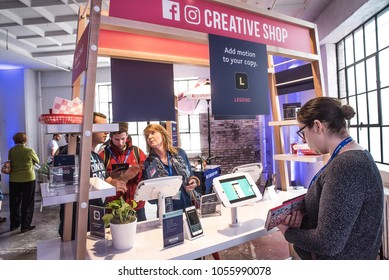 St Louis, Missouri, United States-March 27 2018-Facebook Community Boost event with small business owners at mobile phone Creative Shop kiosk