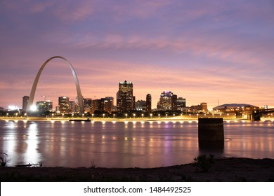 St Louis, Missouri, USA, August 20, 2019. St Louis arch and downtown from the Mississippi river.