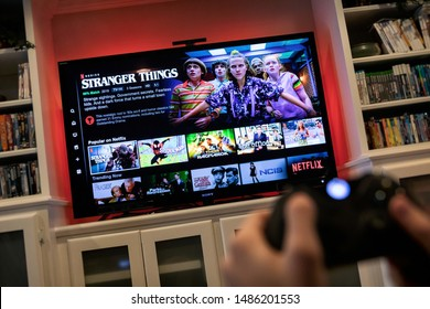 St. Louis, Missouri, USA - August 17, 2019: Viewer Loading Stranger Things TV Series On Xbox System