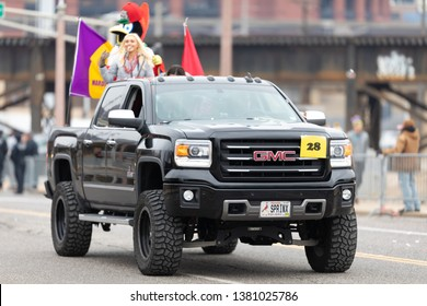 St. Louis, Missouri, USA - March 2, 2019: Bud Light Grand Parade, A GMC truck carrying the mascot of the St Louis Cardinals during the parade