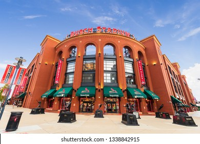 """ST. LOUIS, MO - AUGUST 10, 2018: Busch Stadium is home to the St. Louis Cardinals. The stadium was given the nickname """"Busch Stadium III"""" and """"New Busch Stadium"""" from being rebuilt in 2006."""