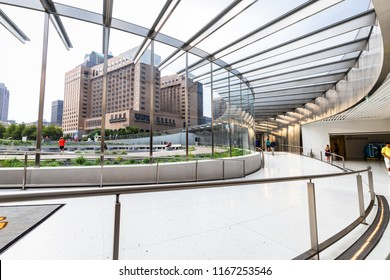 ST. LOUIS, MO, USA - AUGUST 10, 2018: The Gateway Arch Office features tours, cruises, and history lessons for those looking to visit. The building is located underneath the St. Louis's famous Arch.