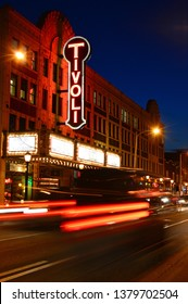 St. Louis, MO, USA February 25, 2015 Traffic moves past the Tivoli Theater, an entertainment spot in the Blueberry Hill district of St Louis, Missouri