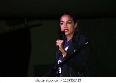 ST. LOUIS, MO, USA - JULY 21: Alexandria Ocasio-Cortez speaks at a rally for Cori Bush in St. Louis, MO on July 21, 2018. Alexandria Ocasio-Cortez is a Democratic nominee for the US House in 2018.