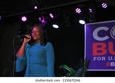 ST. LOUIS, MO, USA - JULY 21: Cori Bush speaks at a rally held in her honor in St. Louis, Missouri on July 21, 2018. Cori Bush is a Democratic Primary nominee for Missouri's 1st District.