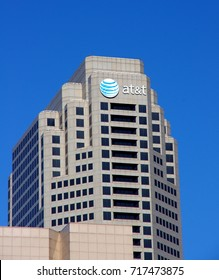 St Louis, MO--September 15, 2017, AT&T logo displayed on One ATT Plaza building. Photo by Phil Rozenski, Shiloh, IL
