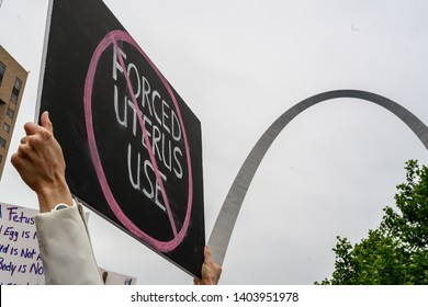 St. Louis, MO/United States - 05-21-2019: No Forced Uterus Use Protest sign at NARAL Abortion rights rally in downtown St. Louis, MO in front of the Arch