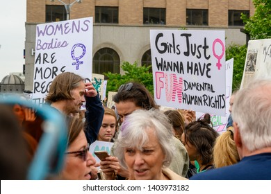 St. Louis, MO/United States 05/21/2019: Activists gather at the NARAL rally for abortion rights in downtown St. Louis, MO