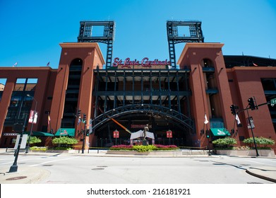ST. LOUIS - SEPTEMBER 07: Busch Stadium, home of the Cardinals baseball team seen on September 7, 2014. The retro-style Busch Stadium opened on April 10, 2006 with a capacity of 46,000.