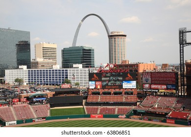 ST. LOUIS - SEPTEMBER 18: St. Louis skyline, including the Gateway Arch, is seen from Busch Stadium before a game between the Cardinals and Padres, on September 18, 2010 in St. Louis.