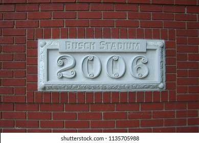 ST. LOUIS - SEPTEMBER 18: The year Busch Stadium opened for baseball games engraved on an outside brick wall on September 18, 2010 in St. Louis. Opened in 2006, Busch seats 43,975.